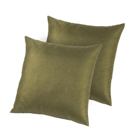 Hotel Madison Silk Jacquard Down-like Decorative Pillows (Set of 2) Olive - Walmart.com