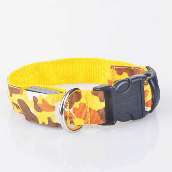 Pets Dog Led Lights Leopard Flash Night Safety Waterproof Collar Adjustable Size L