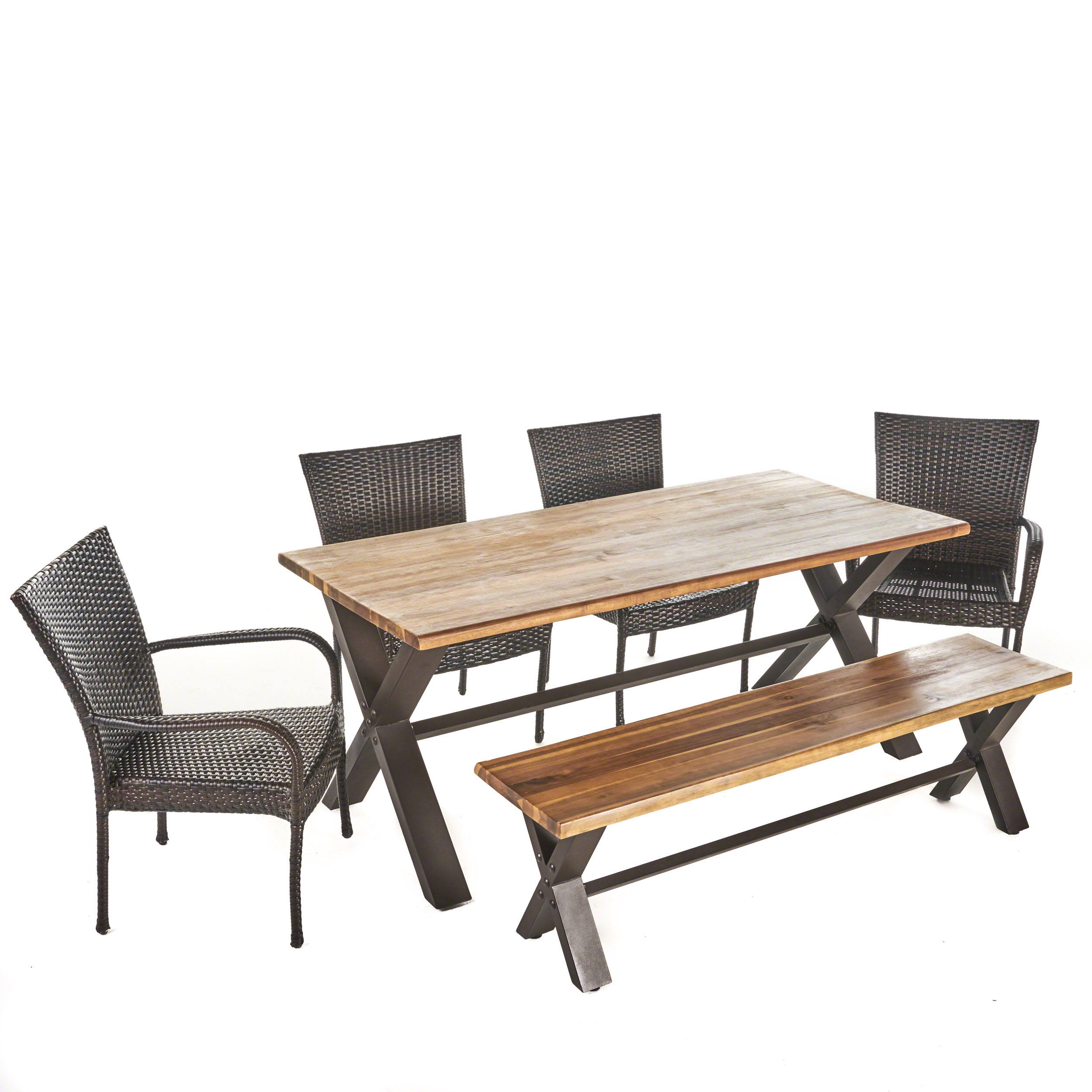 Bula Outdoor 6 Piece Acacia Wood Dining Set with Wicker Stacking Chairs, Teak Finish