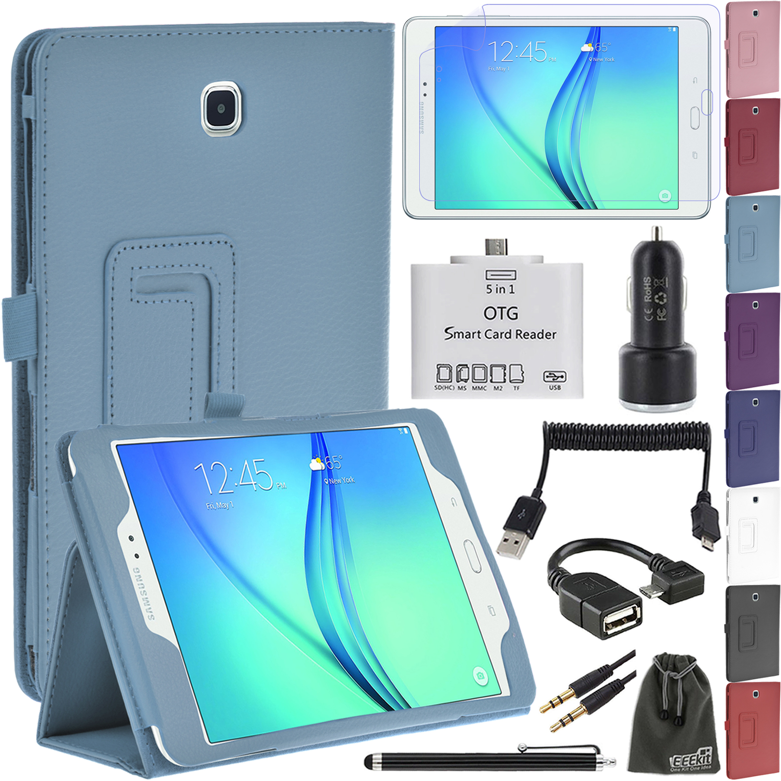 Cover Case, Screen Protector, Micro USB OTG Card Reader/Cable, Car Charger, EEEKit 8in1 Kit for Samsung Galaxy Tab A 8.0
