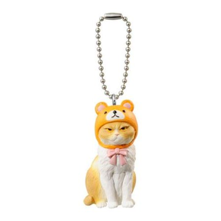 Buneko Anikora Sha Orange Bear Hat Cat Capsule Keychain - Safety Cat Keychain
