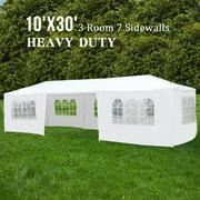 Uenjoy 10'x30' Canopy Party Wedding Tent Event Tent Outdoor Gazebo White 7 Sidewalls