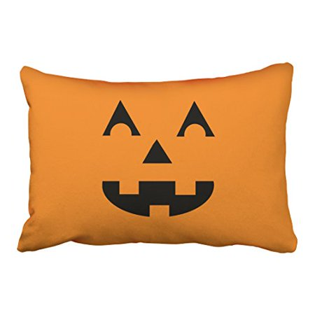 WinHome Cute Vintage Halloween Cartoon Pumpkin Face Laughing Out Loud Simple Pattern Polyester 20 x 30 Inch Rectangle Throw Pillow Covers With Hidden Zipper Home Sofa Cushion Decorative Pillowcases (Halloween Pumpkin Face Patterns)