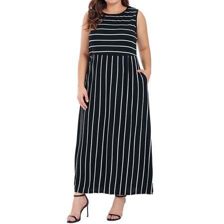 Womens Pocket Holiday Long Dress Midi Ladies Summer Striped Maxi Dress Plus  Size