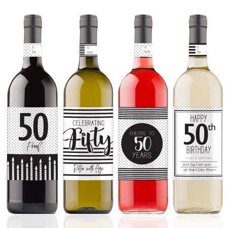50th Birthday Wine Bottle Stickers 4ct
