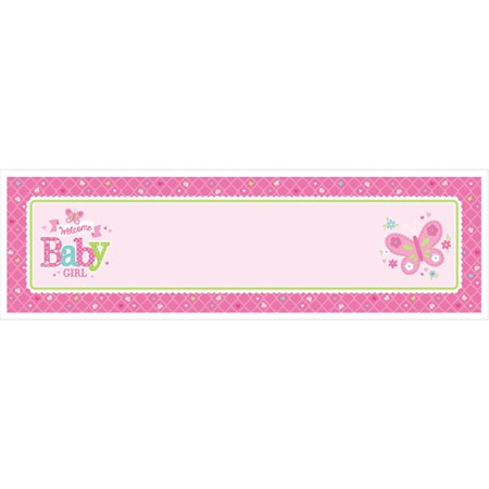 Girl Baby Shower Banner (Baby Shower 'Welcome Little One Girl' Giant Customizable Banner Kit)