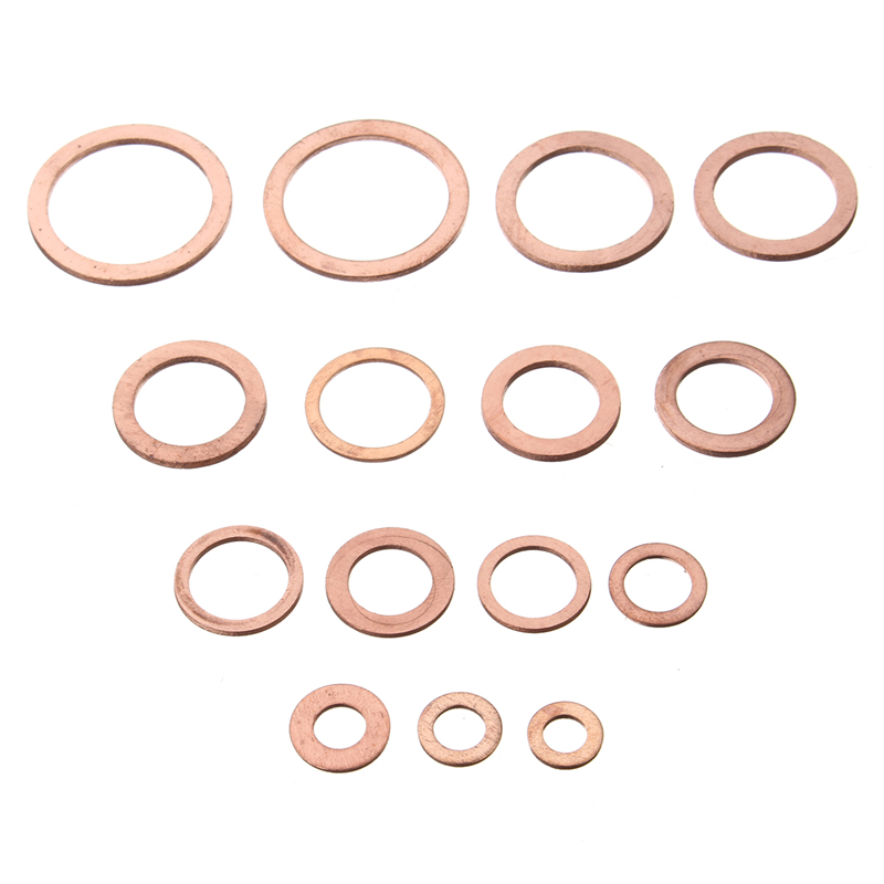 150 Pcs 15 Sizes Copper Crush Washers Seal Flat Ring For Fuel Hydraulic Fittings