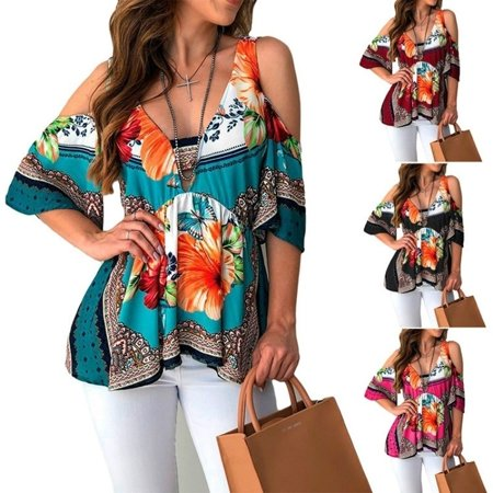 Women Fashion Loose Off The Shoulder Tops Floral Printed Shirts Blouses Cutaway Shoulder Printed Top