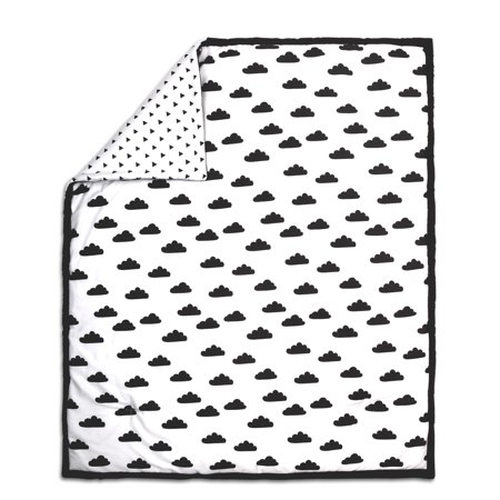 The Peanut Shell Baby Crib Quilt - Black on White Cloud Design - 100% Cotton Sateen Fabrics, 44 by 37 Inches (Baby On Cloud)
