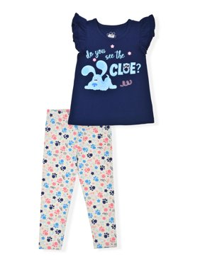 Blue Clue's & You Toddler Girls Flutter Sleeve T-shirt & Leggings, 2-Piece Outfit Set (2T-5T)