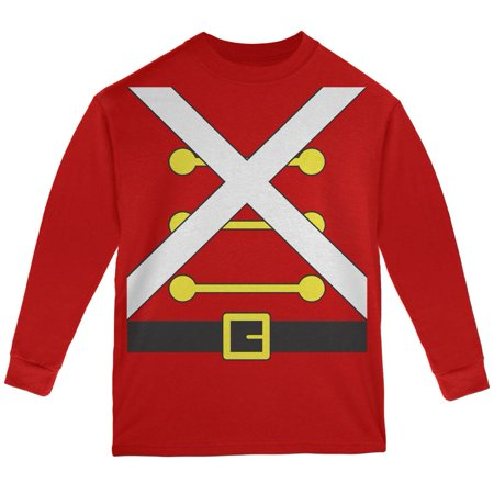 Christmas Toy Soldier Costume Red Youth Long Sleeve T-Shirt - Toy Soldier Clothing