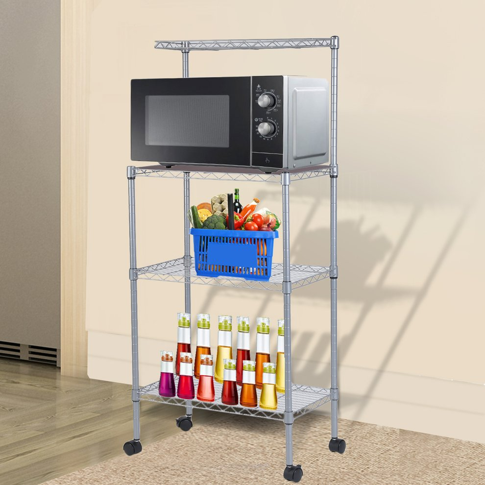 Microwave Oven Stand With Wheel 3-Tier Removable Kitchen Baker's Rack Household Storage Cart Stainless Steel Workstation Shelf