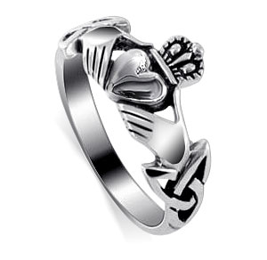 .925 Sterling Silver Irish Claddagh Friendship and Love Band Ring