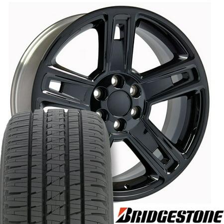 22x9 Wheels & Tires Fits GM Trucks - Chevy Silverado Style Black Rims, Hollander 5664 with Bridgestone Tires