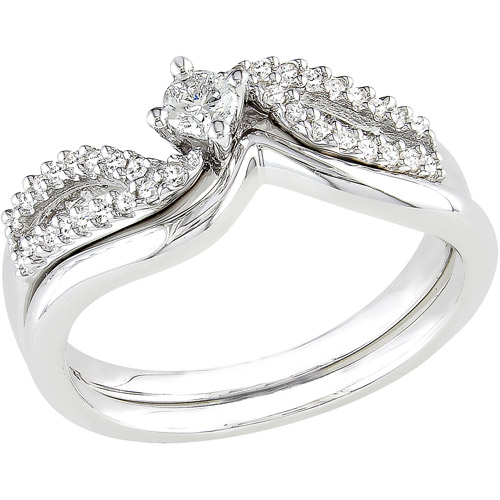 Miabella 1/4 Carat T.W. Round Diamond Bridal Ring Set in Sterling Silver
