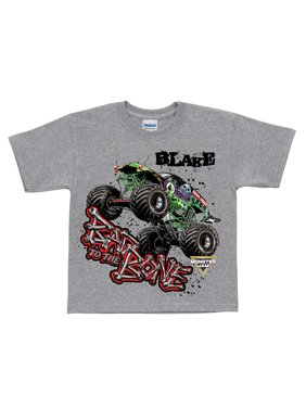 Personalized Monster Jam Bad To The Bone Toddler Boys' T-Shirt, Grey - 2T, 3T, 4T, 5/6T