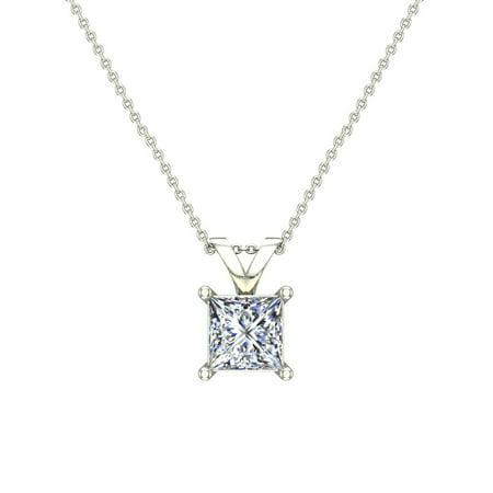 - 1/2 ct tw VS2 G Natural Princess Cut Diamond Solitaire Pendant Necklace 14K White Gold