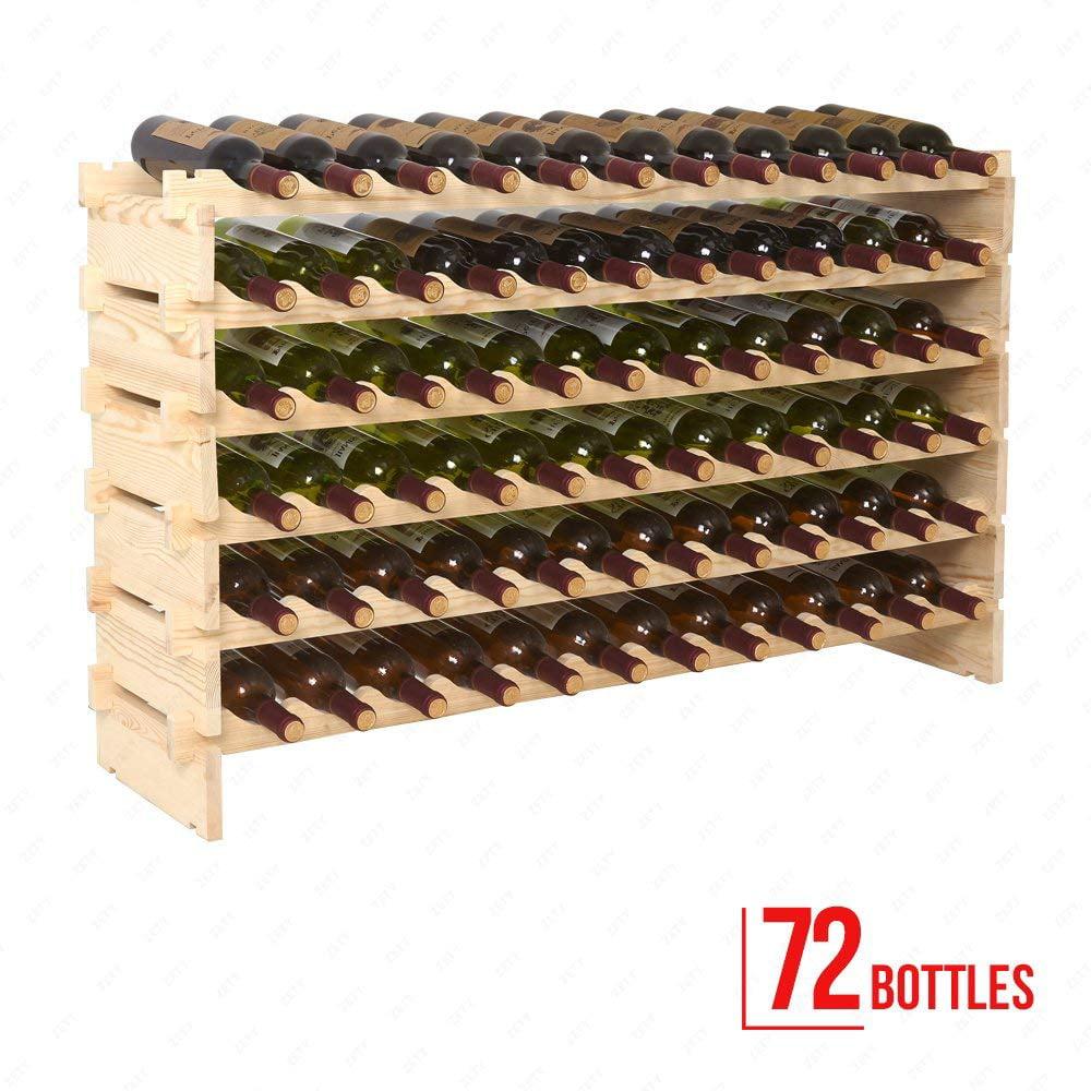 Costway 72 Bottle Wood Wine Rack Stackable Storage 6 Tier Storage Display  Shelves   Walmart.com