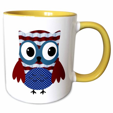 3dRose Cute USA Patriotic Owl Illustration In Red, White, and Blue - Two Tone Yellow Mug, 11-ounce
