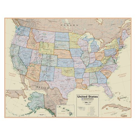 Hemisphere Usa Boardroom 1 4 1 Laminated Wall Map   48L X 38H In