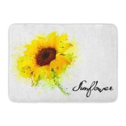 GODPOK White Water Green Color Nature with Yellow Sunflower Orange Sun Watercolor Rug Doormat Bath Mat 23.6x15.7 inch