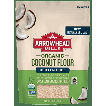 (2 Pack) Arrowhead Mills Organic Gluten-Free Coconut Flour, 16 oz.