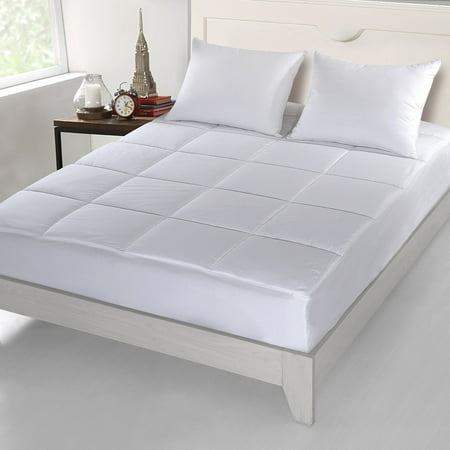 """""""500 Thread Count Cottonlux All Cotton Overfilled Self Cooling Mattress Pad 100% Cotton Fill and Cover"""""""