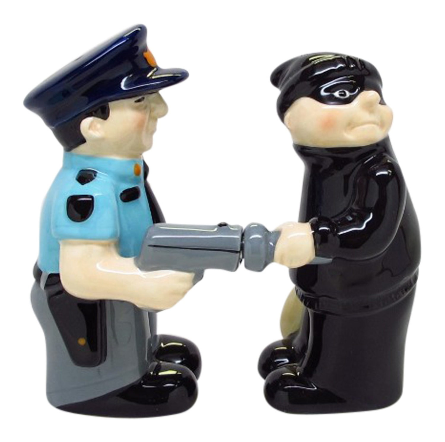 Cop and Robber Funny Magnetic Salt and Pepper Shaker Set