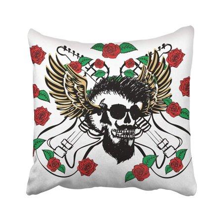 Pink Punk Rock (WOPOP Black Rock Punk Skull Wild Rose Guitar Graphic Design Pink Roll Adventure Cartoon Cute Pillowcase Throw Pillow Cover Case 18x18)