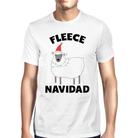 Fleece Navidad White Men's Shirt Funny Christmas Gift Graphic Tee ()