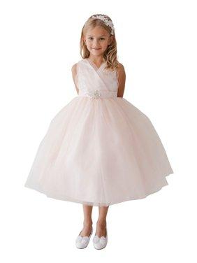 441afadfc05 Product Image Girls Blush Glitter Tulle Rhinestone Brooch Junior Bridesmaid  Dress