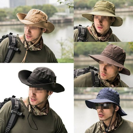 Bucket Hat Boonie Hunting Fishing Outdoor Cap Wide Brim Military Men Sun Hats (Blue Denim Bucket Hat)