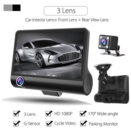 Parking Camera Monitor System 3 Lens Front/Backup/Internal Dash Cam DVR for Cars Night Vision Driving Video Recorder Camcorder 1080p 4