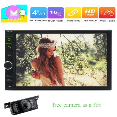 Free Backup Camera Included!7 Inch Quad Core Android 6.0 Car GPS Navigation Player Stereo Bluetooth Support 3G/4G Internet OBD2 Built-in Wifi AM/FM RDS Radio Mirror-link Steering Wheel