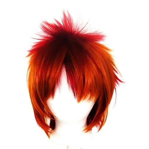 Sora - Crimson Red and Copper Brown Layered Wig 13'' Spik...