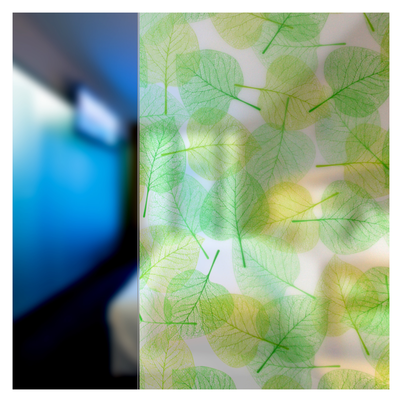 BDF 4GLVW Green Leaves On White Decorative Window Film 25in X 7ft by BuyDecorativeFilm