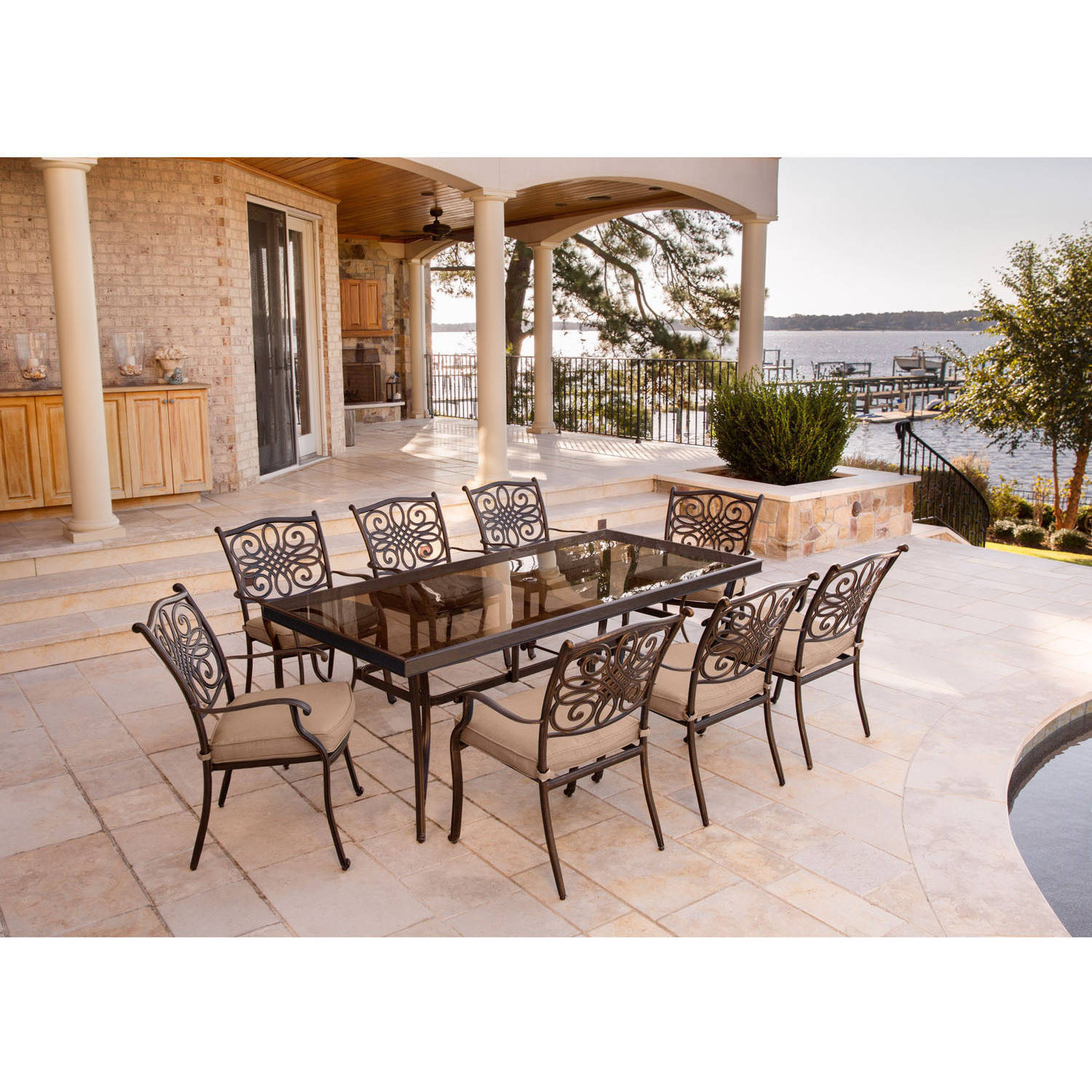 """Hanover Outdoor Traditions 9-Piece Dining Set with 42"""" x 84"""" Glass-Top Table and 8 Stationary Chairs"""