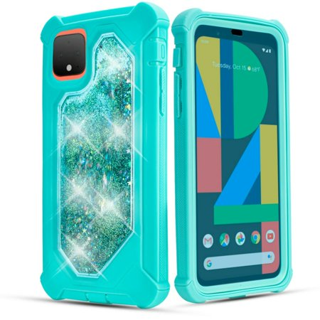 for Apple iPhone 11 Pro Max (6.5inch) Liquid Glitter Bling Sparkling Cute Woman Girl Case Phone Case Silicone PU Shock Bumper Scratch Guard Skin Wrap Slim Cover with Temper Glass (Teal) Pro Cue Cases
