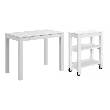 Ameriwood Home Parsons Computer Desk with Drawer, White