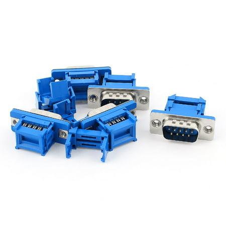 Unique Bargains 5pcs D-SUB DB9 9 Pin Male IDC Type Crimp Threaded Connector for Flat