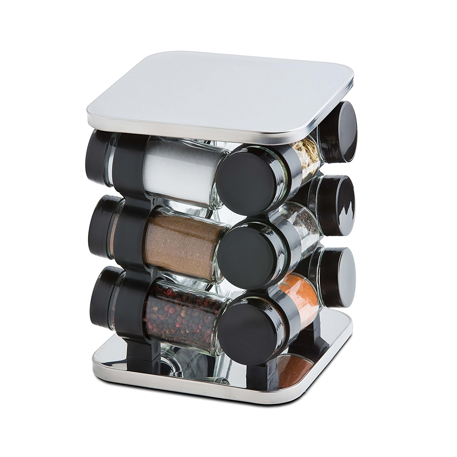 ModernHome 12 Piece Stainless Steel Spice Rack Carousel, Silver by