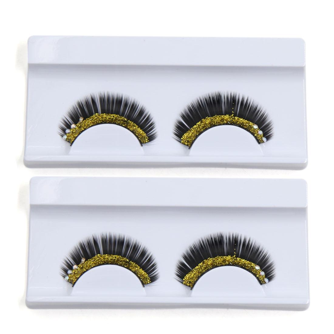 2 Pairs Rhinestone Decor False Eyelash Faux Fake Eyelash Kit Party Festive Makeup