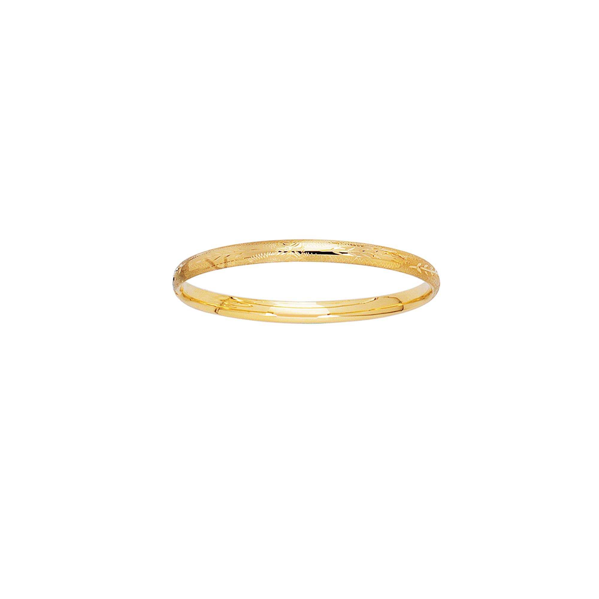 14k Yellow Gold 3MM Engraved Baby Children Kids Bangle Bracelet 5.5