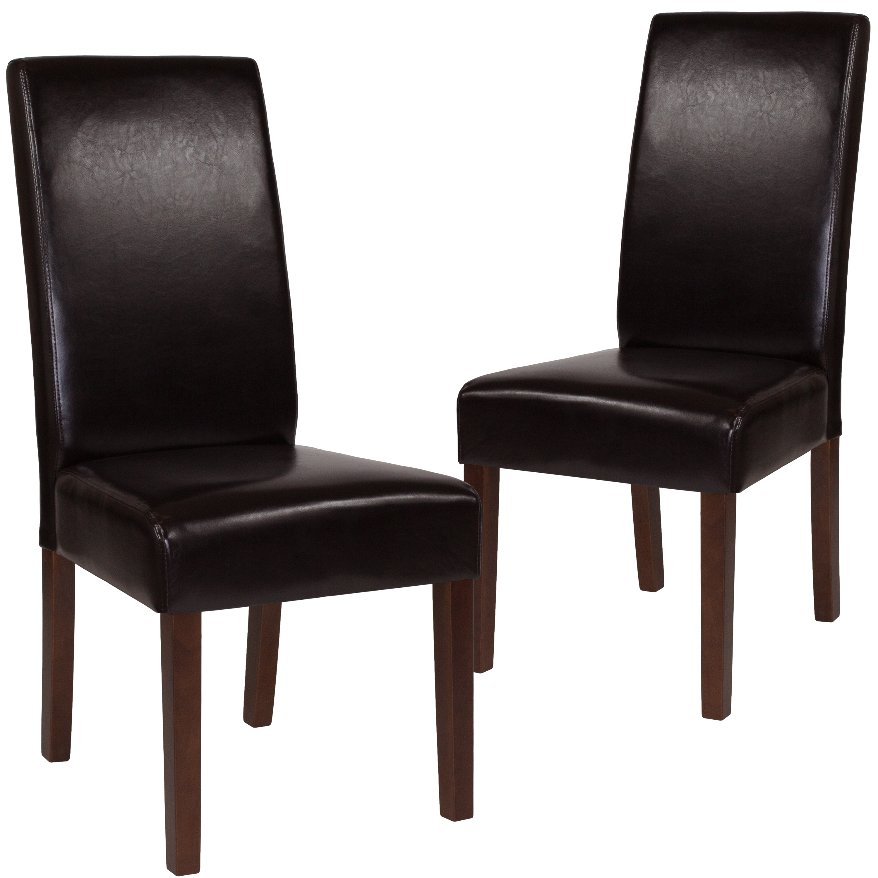 Flash Furniture 2 Pk. Greenwich Series Brown Leather Parsons Chair