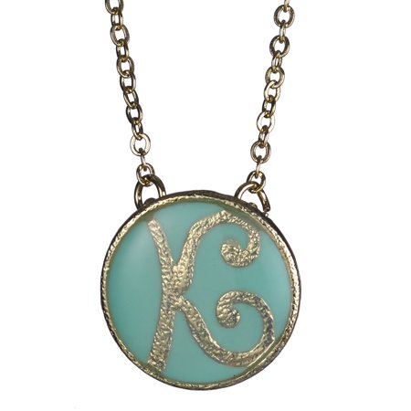 Monogram 16 Blue Gold-tone Chain Necklace with 3 Extender