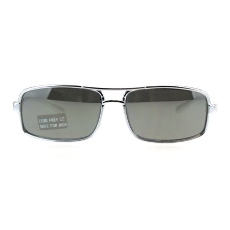 Boys Metalic Thin Plastic Secret Agent Narrow Rectangular Officer Sunglasses Silver (Sunglasses Used By Secret Service)