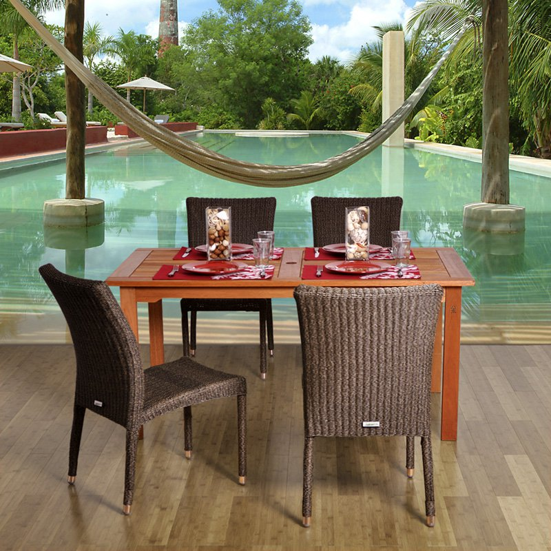 Amazonia Brugge Square All Weather Wicker Dining Set - Seats 4
