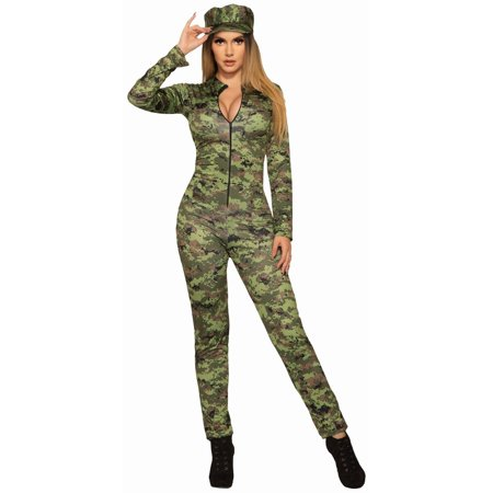 Halloween Sexy Army Jumpsuit And Hat Adult (Women's Army General Costumes)