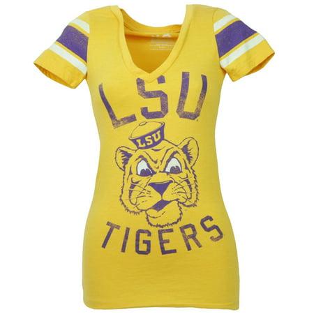 (NCAA Louisiana State Tigers LSU Yellow Tshirt Tee Striped Short Sleeve XSmall)