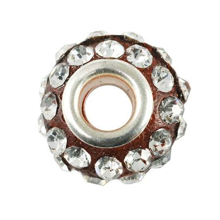 (Large Hole Rhinestone Bead 14x9mm Crystal on Red)